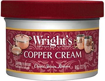 [해외]라이트 구리 크림 / Wright`s Copper and Brass Cream Cleaner - 8 Ounce - Gently Cleans and Removes Tarnish Without Scratching
