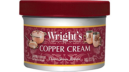 Wright's Copper and Brass Cream Cleaner - 8 Ounce - Gently Cleans and Removes Tarnish Without Scratching (Copper Cookware Antique)
