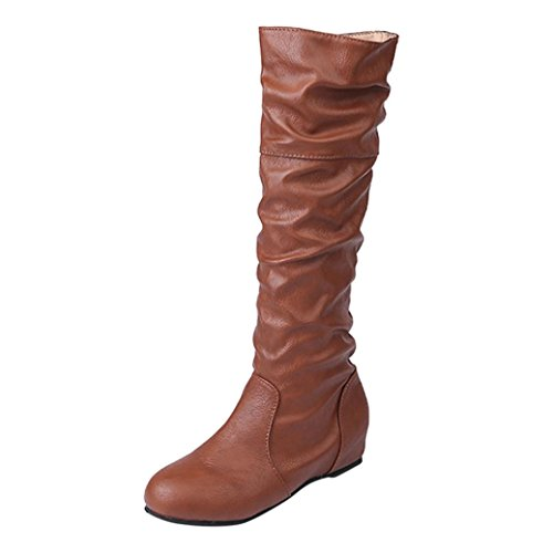 Boots Women's Long Autumn High Yuxing Heel Brown Flat xZqzUwYY