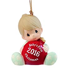"Precious Moments 161006 Christmas Gifts, ""Baby's First Christmas 2016"", Baby Boy, Bisque Porcelain Ornament"