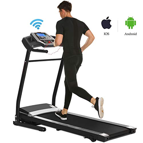 Miageek Fitness Folding Electric Jogging Treadmill with Smartphone APP Control, Walking Running Exercise Machine Incline Trainer Equipment Easy Assembly (2.25 HP - Black) by Miageek