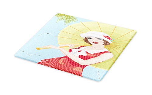 Lunarable Vintage Cutting Board, Pin Up Girl Holding a Japanese Paper Umbrella in Tropical Setting with Palm Trees, Decorative Tempered Glass Cutting and Serving Board, Large Size, ()