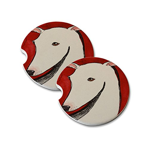 Natural Sandstone Car Drink Coasters (set of 2) - White Greyhound on Red Abstract Dog Art by Denise Every ()