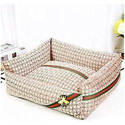 Removable Washable Warm Pet Animal Sleeper Bed Large XL Dog Rest Houses Cat Towser Sofa Play Cushion Doghouse Black/White/Khaki,Khaki,40X50Cm