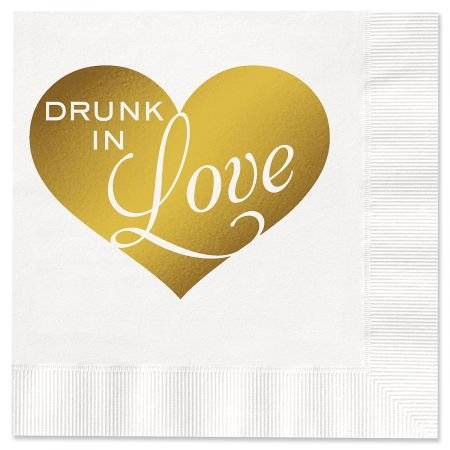 20 Disposable Drunk In Love Paper Cocktail Napkins - 5'' x 5'' Recycled Paper Party Napkins, Wedding Party Napkins, Bachelor, Bachelorette, Wedding Party Supplies