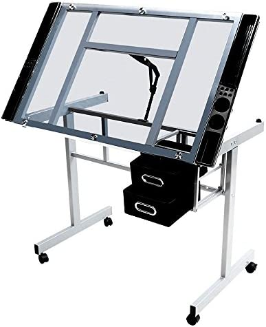 Topeakmart Glass Adjustable Rolling Drafting Drawing Artists Table Folding Art Craft Desk w 2 Slide Drawers and Wheels