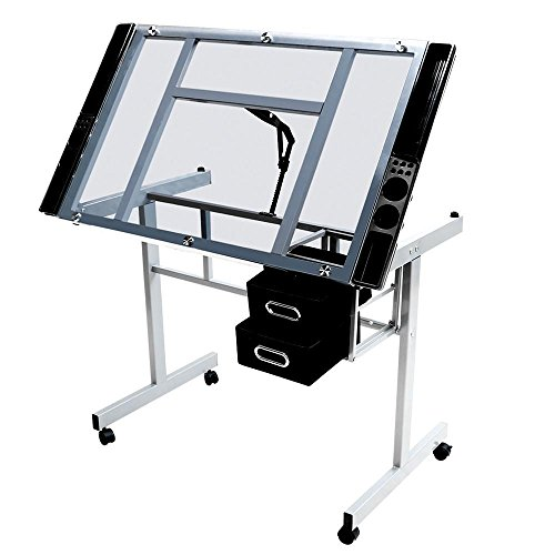 Yaheetech Adjustable Drafting Drawing table Rolling Drafting Desk Tempered Glass Top - Glass Top Silver Finish
