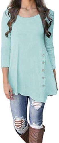 Despacho. Womens Loose Blusa 3/4Sleeve Tunic irregular Tops Plus tamaño botón decoración