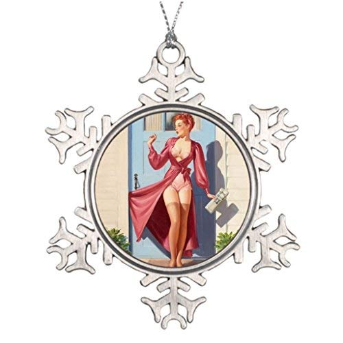 Xmas Trees Decorated Morning Newspaper Pin-Up Girl Picture Snowflake Ornaments -