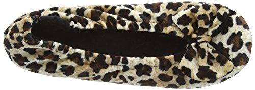 Isotoner Velour Big Bow Ballerina - pantuflas con forro cálido de sintético mujer - Multicolor (Panther/Black)
