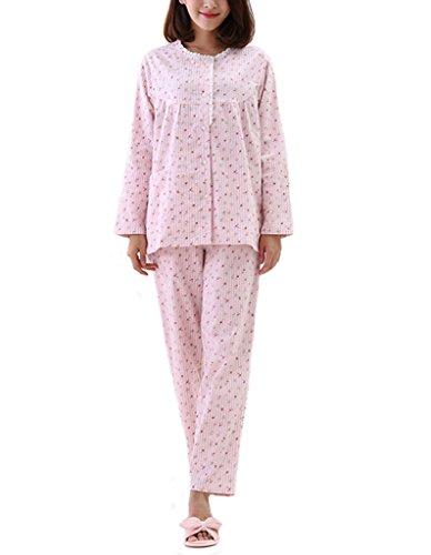 Tortor 1Bacha Women's 100% Cotton Flannel Floral Print Pajama Set Pink 4-6