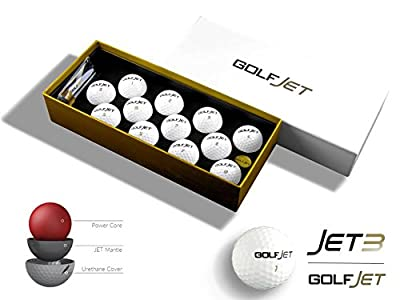 One Dozen Premium GolfJet JET3 Golf Balls. 3-Layer Power Core, SuperSoft 338 Dimple Hex Aero Urethane Cover. Longer Flatter Drives, More Game Spin, Optimum Feel For Ultimate Control.