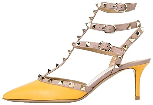 Calaier Mujer Caman Tacón De Aguja 6.5CM Sintético Hebilla Sandalias de vestir Zapatos Amarillo