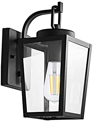 MOTINI 12 Vintage Outdoor Wall Lantern Lamp 1-Light Exterior Classic Armed Sconce Fixture in Textured Black Finish with Clear Glass Shade, ETL