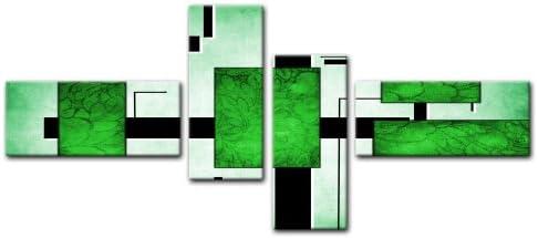 Cuadros en Lienzo - Arte abstracto Abstracto IV verde - 200x90cm 4 partes - Listo tensa. Made in Germany!!!: Amazon.es: Hogar
