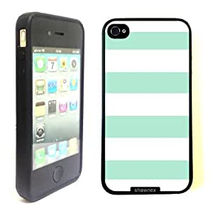 iPhone 4 4S Case ThinShell TPU Case Protective iPhone 4 4S Case Shawnex White Turquoisel Stripes