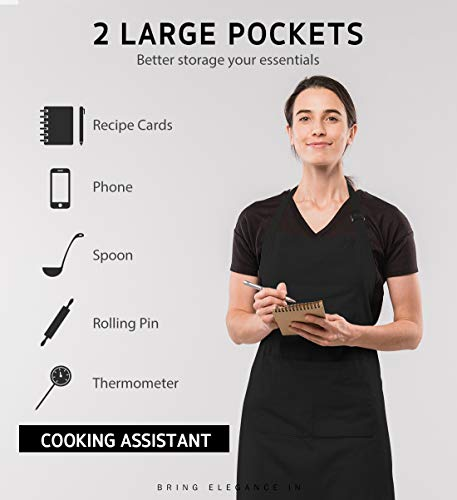 Syntus 12 Pack Bib Apron Waterdrop Resistant with 2 Pockets Cooking Kitchen Apron for Women, Men Chef, BBQ Drawing Apron… |