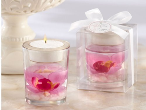 60 PCS - Elegant Purple Faux Orchid in Gel Tealight Candle Holder (Orchid Gel Candle Favor)