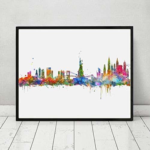 Amazon Com New York City Wall Hanging Map Skyline Art