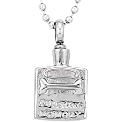 "DatConShop(TM) ""In Loving Memory"" Dog Bone Cremation Jewelry Pet Ash Urn Holder Necklace"