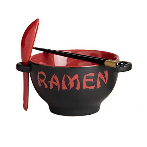 Ramen Noodle Bowl Set with Spoon and Chopsticks - Red