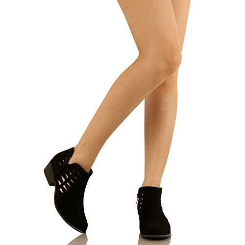 Guilty Schuhe Damen Blockabsatz Geschlossene Zehe - Riemchen Stiefeletten Black1 Nubuk