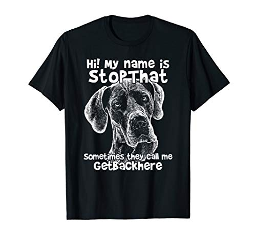 Hi My Name Is StopThat Funny Great Dane Shirt