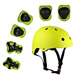 Lucky-M Kids 7 Pieces Outdoor Sports Protective Gear Set Boys Girls Cycling Helmet Safety Pads Set [Knee&Elbow Pads and Wrist Guards] for Roller Scooter Skateboard Bicycle(3-8Years Old) (yellow)