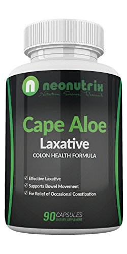 Cape Aloe Natural Laxatives for Constipation Relief- Promotes Healthy Bowel Movement- Dietary Supplement for Men & Women - Herbal Detox - 90 Capsules - Made in The USA by Neonutrix