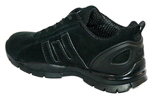 Zapatillas de seguridad para mujer, acero en la punta de los dedos, con cordones, ligeras negro