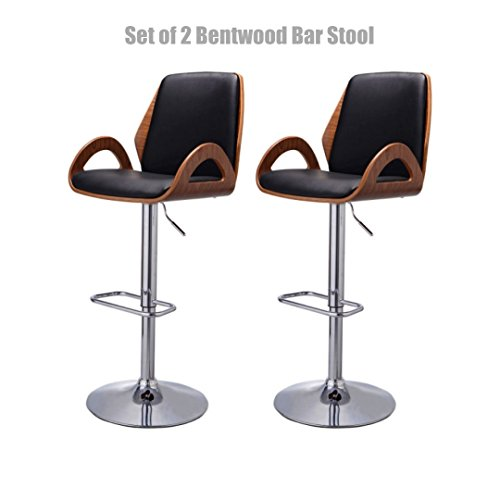 Contemporary Bentwood Bar stool Adjustable Height 360 Degree Swivel Durable PU Leather Upholstery Seat Stable Stylish Armrest Footrest Chrome Steel Frame Office Pub Chair New - Set of 2 #1098 (Furniture Uk Hire Garden)