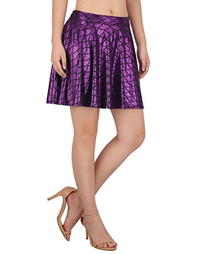 HDE Womens Shiny Mermaid Fish Scale Mini Flared Pleated Skater Skirt (Purple, X-Large) -