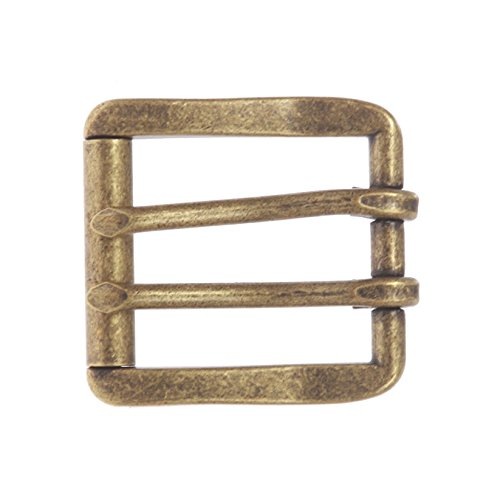 BBBelts Men Solid Brass 2 Prong Center Bar Square Roller Buckle For 1-1/2