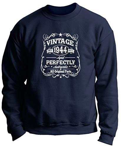 75th Birthday Party Favors Birthday Apparel 75th Birthday Gifts Vintage 1944 All Original Parts Premium Crewneck Sweatshirt XL Navy ()