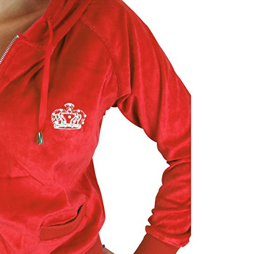 Chándal para mujer, parte superior con capucha, con corona de estrás Korallenrot