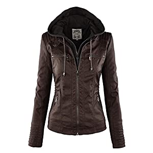 LL WJC663 Womens Removable Hoodie Motorcyle Jacket M COFFEE