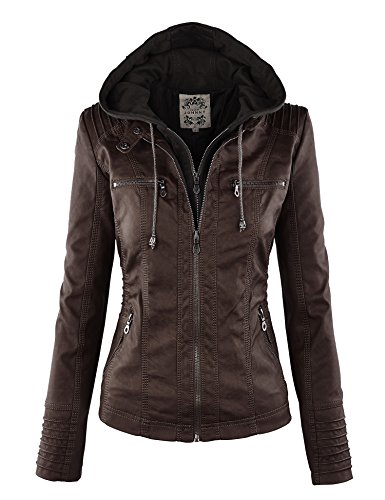 Made By Johnny WJC663 Womens Removable Hoodie Motorcyle Jacket L Coffee ()
