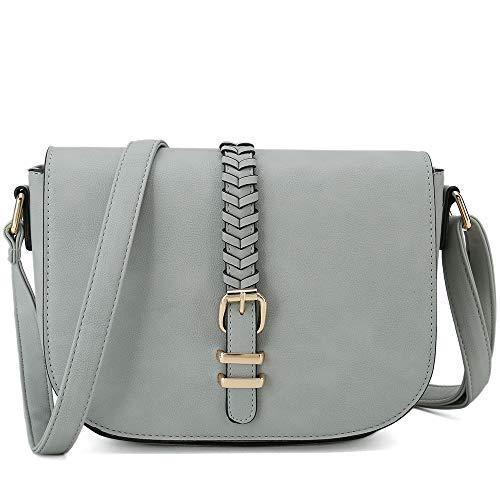Casual Small Crossbody Saddle Bags for Women Shoulder Purse Designer Handbags (Grey)