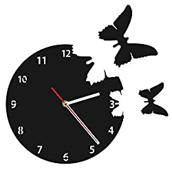 YJSMXYD Wall Clocks Acrylic Black Flying Butterflies Animals Contemporary Wall Clock Simple and Fashionable Which is Generous and Nice-Looking Suitable for Home Decoration