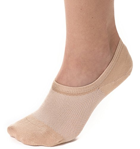 Bam&bü Women's Premium Bamboo No Show Casual Socks - 4 Pairs - Beige - Medium