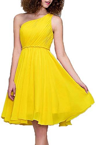 (Meaningful One Shoulder Homecoming Prom Dress Cocktail Dress Short Bridesmaid Dresses for Women Size 6)