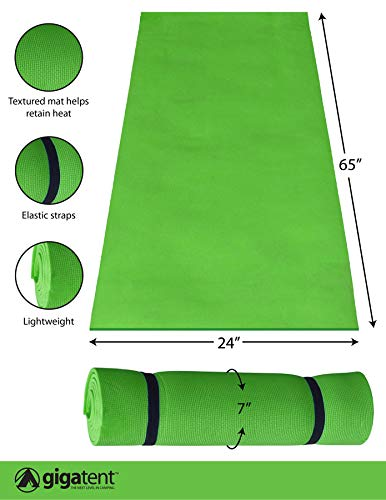 (GigaTent Ultralight Foam Outdoor Camping Yoga Mat for Travelling, Camping, and Hiking Green)