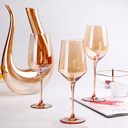 Lead-free crystal luxury gold goblet ornaments color amber glass oblique red wine glass noble decanter