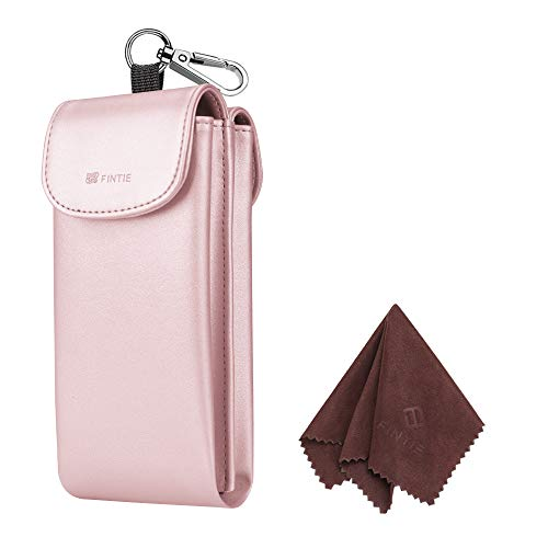 Fintie Double Glasses Case with Carabiner Hook, Portable Vegan Leather Eyeglass Case Anti-scratch Sunglasses Pouch, Rose Gold