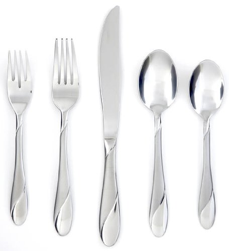 Cambridge Silversmiths Swirl Sand 20-Piece Flatware Silverware Set, Stainless Steel, Service for 4, Includes Forks/Spoons/Knives