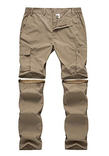 (Gash Hao Outdoor Hiking Convertible Pants Mens Quick Dry Water and Stain Resistant Cargo Pockets Breathable UPF 50 (Khaki 38x32))