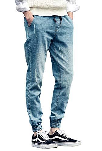 2018 Pantalones De Mezclilla Rasgados Moda Pantalones Elásticos Tamaños Cómodos Flacos Casuales Pantalones De Carga Tobillo Pantalones Vaqueros Elásticos Hombres Elegantes Ropa Blau-2