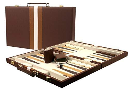 Large 18 Leatherette Backgammon Set - Brown