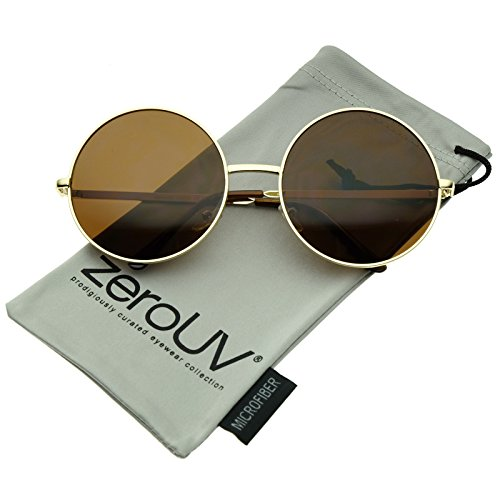 Round Sunglasses Large (Super Large Oversize Slim Temple Round Sunglasses 61mm (Gold/Brown))