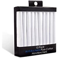 10 Pack Antibacterial 100% Pure Cotton Men's Handkerchiefs White - Hanky Hankie